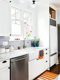beveled marble subway tile kitchen white backsplash houzz