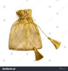 mesh gift bags golden mesh gift bag tassels isolated stock photo 46771165