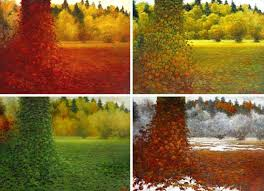 saatchi art 4 paintings 4 seasons 1 place painting by tadeusz