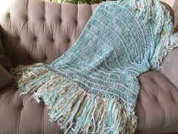 Knitting Home Decor Mint Green Throw Blanket With Gold And Ivory White Mint Home