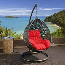 Lounge Swing Chair Black Rattan Hanging Chair With Red Cushion Covers Hanging