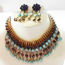turquoise necklace set images Blue purple turquoise bead vintage jewellery set 1960s jpg