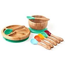 baby plates avanchy bamboo silicone baby bowl and plate set with spoons