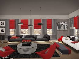 red and grey living room decor l shaped beige fabric sectional