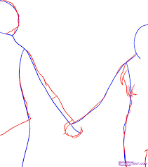 how to draw people holding hands step by step figures people