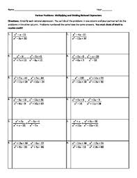 rational equations worksheet partner problems multiplying and dividing rational expressions