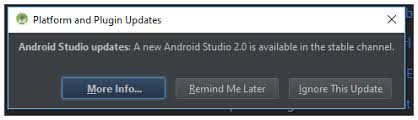 android studio button to version no update and restart button in