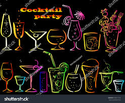 cocktails cocktail glasses set cocktail party stock vector