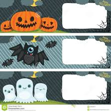 happy halloween card set with pumpkin bat ghost stock photo