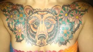 bear chest piece finished by ian lutz at sinners u0026 saints in