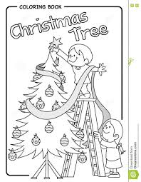 pair of children decorating the christmas tree using a ladder