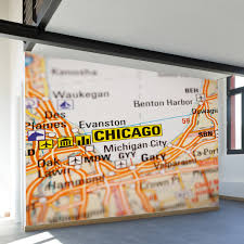 L Chicago Map by Chicago Map Wall Mural Decal 100