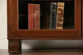 sold arts u0026 crafts 1900 antique oak bookcase green leaded glass