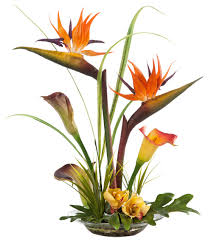 artificial flower arrangements bird of paradise and calla silk centerpiece tropical