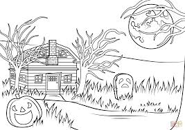 halloween haunted house coloring page free printable pages in png