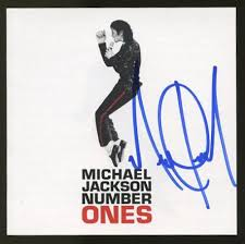 michael jackson signed cd cover number ones ga coa