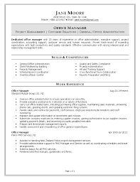 Resume Of Manager Project Manager by Office Management Skills Resume Free Resume Example And Writing