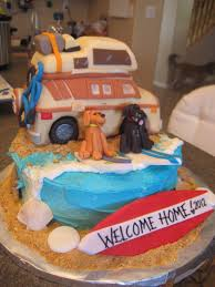 welcome home cake for my brother u2013 surfing beach theme cake