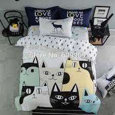 cute cartoon cat girls boys black white yellow bedding bed set