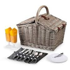 Picnic Basket Set For 4 Quickway Imports Gingham 2 Piece Lined Wood Picnic Baskets Set