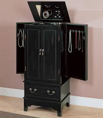 Jewelry Box Mirrored Armoire Furniture Black Jewelry Armoire On Wooden Floor And Rug For Home