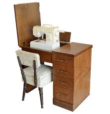 Singer Sewing Machine Desk Singer Sewing Machine Cabinet Chair And Accessories Ebth