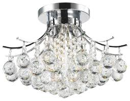 Chrome Flush Mount Ceiling Light by French Empire 3 Light Chrome Finish With Faceted Crystal Ball