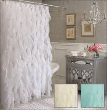 Shower Curtains With Red In Them Cascade Ruffle Shower Curtain With Semi Sheer Waterfall Ruffles