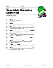 esl kids worksheets vegetables carrot tomatoes how much