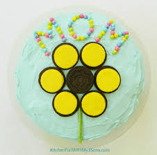 easy mother u0027s day sunflower oreo cake that the kids can make all