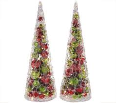 set of 2 illuminated 15 ornament cone trees by valerie page 1