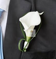 mens boutineer 1 pcs lot white calla flower corsage groom groomsman wedding