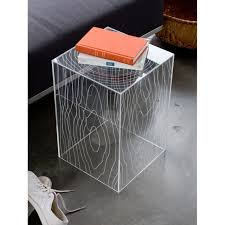 Minimalist Side Table Minimalist Grey Stained Metal Prism Side Table With Beveled Edge