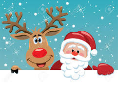 christmas illustration of santa claus and rudolph deer royalty