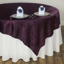 eggplant colored table linens 60 eggplant seamless satin square tablecloth overlay tablecloths