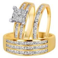 14k gold wedding ring sets 1 2 carat trio wedding ring set 14k yellow gold products