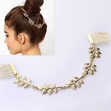 decorative headbands cheap fashion hair accessories gold leaf chain with comb
