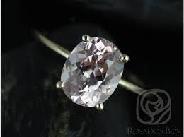 plain band engagement ring rosados box 10x8mm 14kt yellow gold thin oval morganite