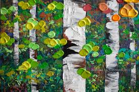 sold a memory 36 x36 colourful autumn birch and aspen