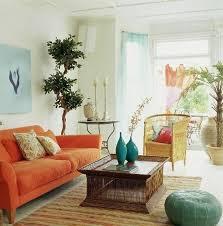 Orange Sofa Living Room Ideas Living Room Captivating Bohemian Living Room With Orange Sofa