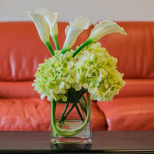 silk arrangements for home decor finest silk green hydrangea with real touch calla lily tall square