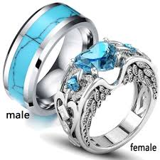 tungsten women rings images Two rings couple rings wings heart aquamarine 18k white gold jpg