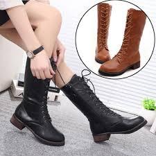 womens boots mid calf autumn winter fashion womens boots mid calf flat lace up
