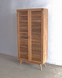 unique pine wood shoe cupboard with louvers swing doors of