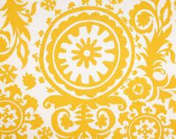 Yellow Home Decor Fabric Yellow Suzani Fabric Etsy