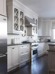 White Kitchen Cabinets With Gray Granite Countertops Cabinets U0026 Drawer Stainless Steel Refrigerator White Glass