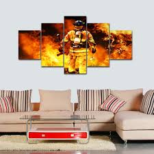 firefighter home decorations firefighters canvas painting print living room decorations for