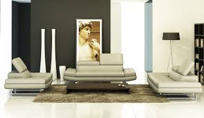 modern grey italian leather sofa set