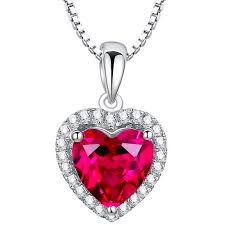 pink ruby necklace images Sterling silver valentine heart 4ct ruby pendant necklace arco jpeg