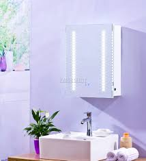foxhunter led illuminated mirror bathroom cabinet steel storage
